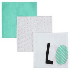 Set de 3 langes en tétra avec motif coloré