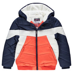 Junior - Doudoune à capuche tricolore doublée polaire avec poches zippées