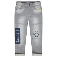 Jeans en molleton effet used avec prints ©Smiley