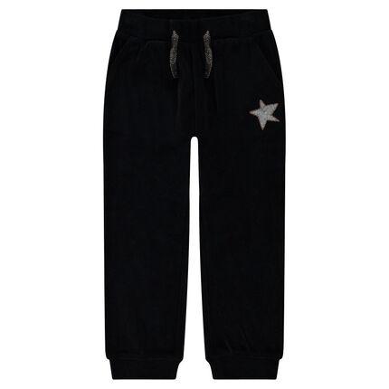 Pantalon de jogging en velours avec étoile en sequins