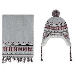 Ensemble bonnet et écharpe en tricot doublés sherpa