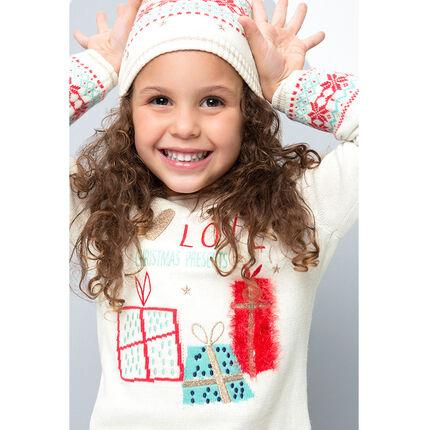 Pull en tricot de Noël avec cadeaux et message brodés