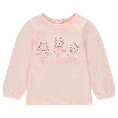 Tee-shirt manches longues en tricot fin avec chats printés et noeuds