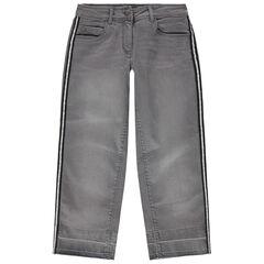 Junior - Jean gris effet used à bandes argentées