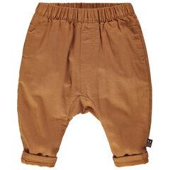 Pantalon camel doublé jersey à taille élastiquée