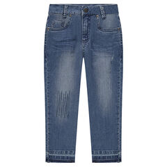 Jeans effet used et crinkle avec griffures fantaisie