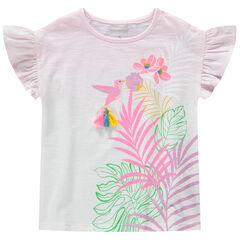 Tee-shirt manches courtes en jersey effet tie and dye avec oiseau printé et pompons