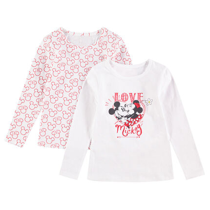 Lot de 2 tee-shirts manches longues en jersey (maillots de corps) Mickey & Minnie Disney