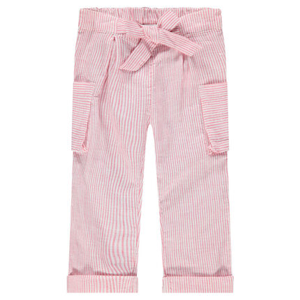 Pantalon droit à rayures all-over et poches