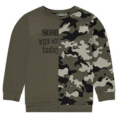 Junior - Sweat en molleton uni/army avec inscriptions printées