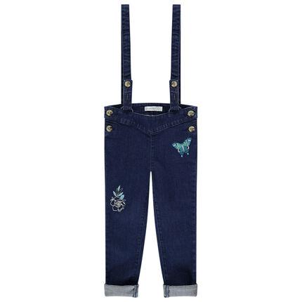 Jeans à bretelles amovibles avec fleur et papillon brodés