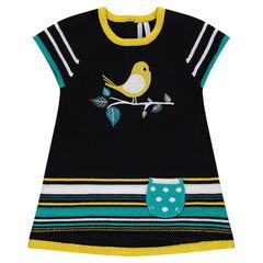 Robe manches courtes en tricot avec oiseau en jacquard