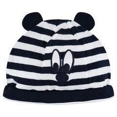 Bonnet en jersey rayé avec oreilles en relief