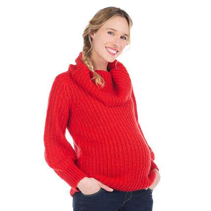 Pull de grossesse à col roulé en tricot maille épaisse