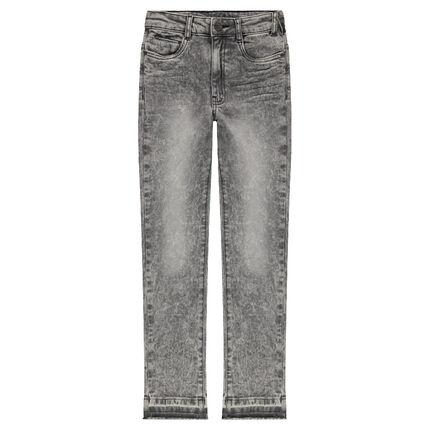 Junior - Jeans effet neige used avec texte printé