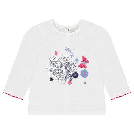 Tee-shirt manches longues en jersey avec fleurs printées et détails brodés