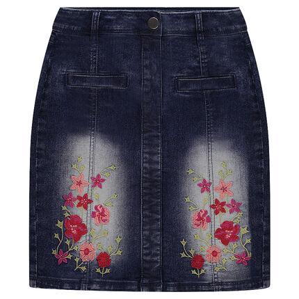 Jupe en jeans taille haute avec broderies florales
