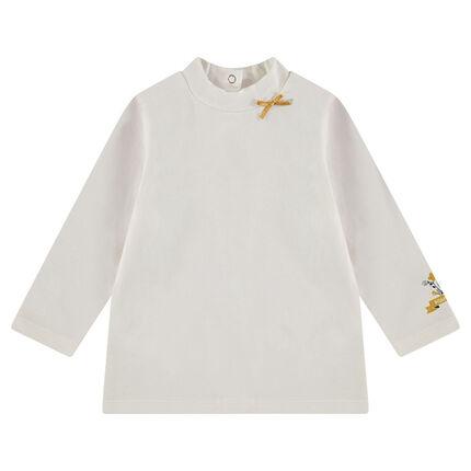 Tee-shirt manches longues avec col cheminée et motif printé