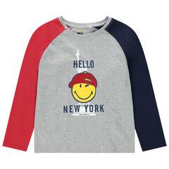 T-shirt manches longues contrastées en jersey print Smiley