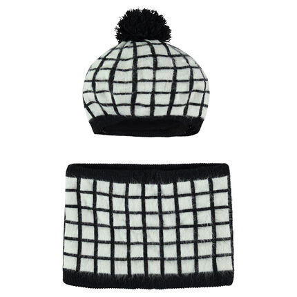 Ensemble bonnet et snood à carreaux