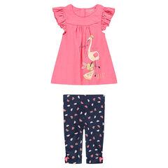 0f2c00138e3e9 Ensemble avec tunique print flamant rose et legging imprimé all-over