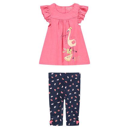 Ensemble avec tunique print flamant rose et legging imprimé all-over