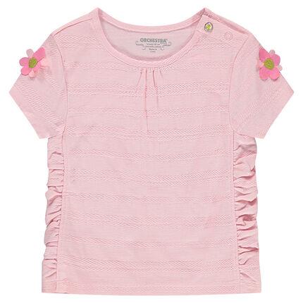 Tee-shirt manches courtes avec fronces et fleurs sur les manches