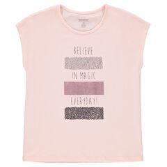 Junior - Tee-shirt manches courtes avec inscriptions et sequins