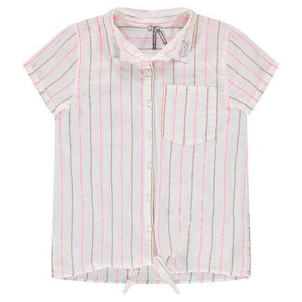 Junior - Chemise manches courtes rayée à nouer sur le devant