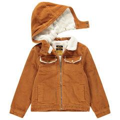Junior - Blouson en velours côtelé doublé sherpa à capuche amovible