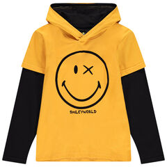 Junior - T-shirt manches longues à capuche bicolore print Smiley