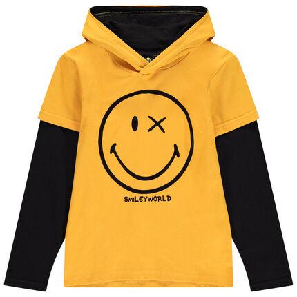 Junior - T-shirt manches longues à capuche bicolore print Smiley