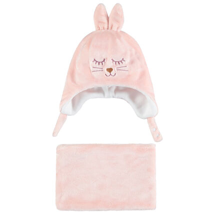 Ensemble en sherpa bonnet et snood lapin