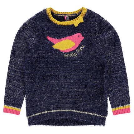"""Pull en tricot pailleté effet """"poils"""" avec oiseau en jacquard"""