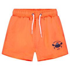 Short de bain orange print crabe