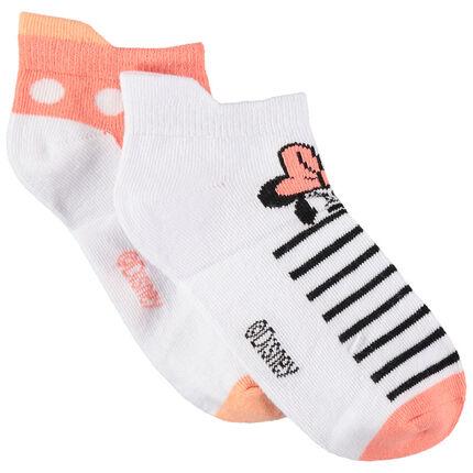 Lot de 2 paires de chaussettes courtes à pois/rayures Minnie Disney