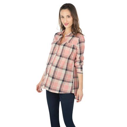 Chemise manches longues de grossesse à grands carreaux