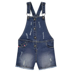 Salopette short en jeans effet used