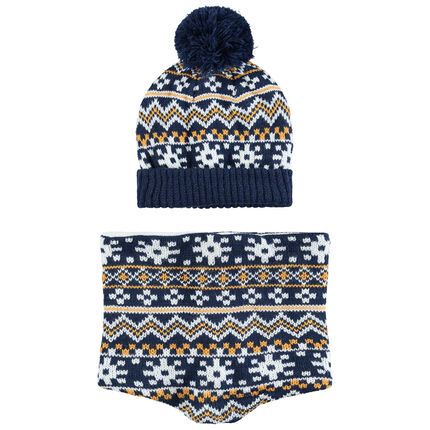Ensemble bonnet et snood en tricot doublé sherpa