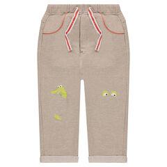 Pantalon de jogging en molleton chiné avec patchs et prints sur les genoux
