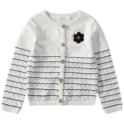 Gilet rayé en tricot fantaisie avec fleur en bouclette