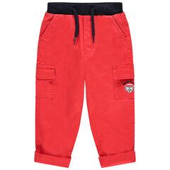 Pantalon en toile surteint rouge avec animal brodé