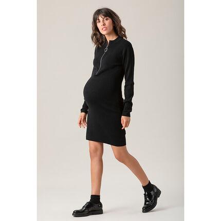 Robe de grossesse manches longues en tricot avec ouverture zippée