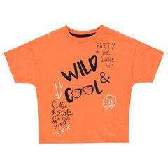 Tee-shirt manches courtes orange avec inscriptions printées