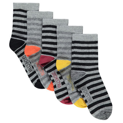 Lot de 5 paires de chaussettes rayées all-over