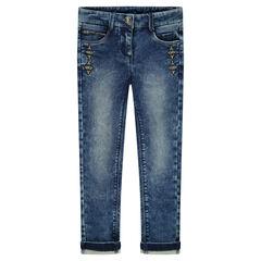 Jeans slim en molleton avec broderies