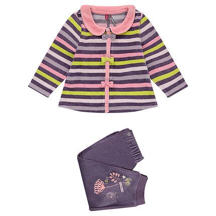 Pyjama en velours rayé adaptée en fonction de l'âge