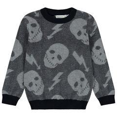 Pull en tricot à têtes de mort en jacquard