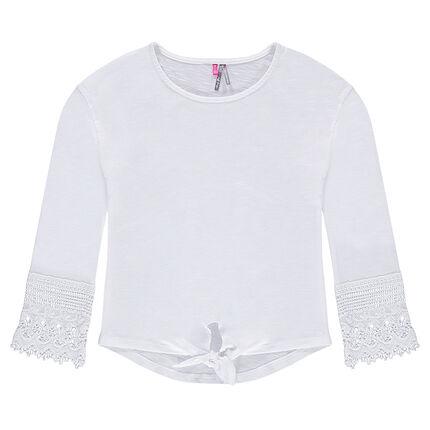 Junior - Tee-shirt en jersey avec bout des manches en dentelle