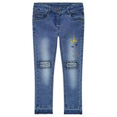 Jeans effet used et crinkle avec fantaisies sur les jambes